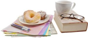 coffee, donuts, reading adn writing materials